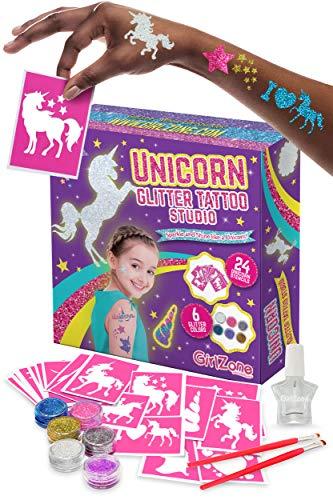 GirlZone Geschenke für Mädchen - Einhorn Glitzer Tattoo Set Kinder - Tatoos für Kinder Tattoos zum Selbermachen 33 Teile