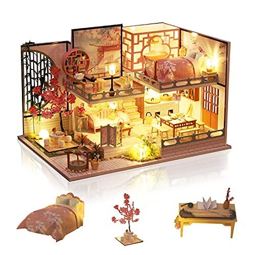 Cuteefun Maison Miniature a Construire DIY Maison Poupee Miniature Bois en Kit avec Musique Anti-Poussière et Meubles, Cadeau de Bricolage Artisanal pour Les Femmes (Sakura House)