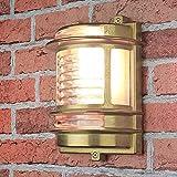 Wandleuchte Außen Antik Riffelglas Echt-Messing rostfrei H:22cm maritimer Stil langlebig Außenlampe Terrasse Balkon