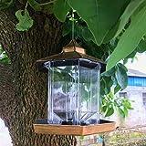 Bord Wild Bird Feeders for Outside,Bird Feeders for Outdoors Hanging,Bird Seed for Outside Feeders,Hexagon Shaped with Roof Hanging Bird Feeders for Garden Yard Decoration(Gold)