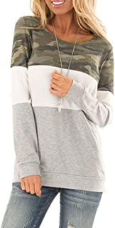 Women Camouflage Patchwork Casual Pullover Loose O-Neck Sweatshirt Long Sleeve Block Color Top Blouse