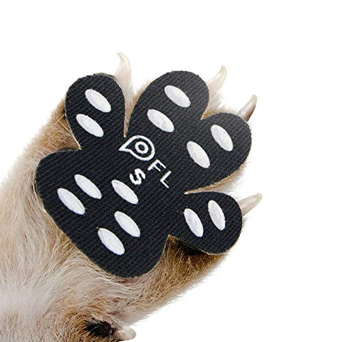 Dog Paw Protection Anti-Slip Traction Pads with Grips, 24 Pieces Self Adhesive Disposable Dog Shoes for Hardwood Floor Indoor Wear (S-1.30'x1.54', 4-10 lbs)