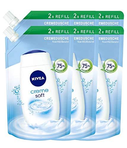 Nivea Creme Soft Cremedusche Nachfüllbeutel, Duschgel, 6er Pack (6 x 500 ml), intensive Pflege, milder Duft