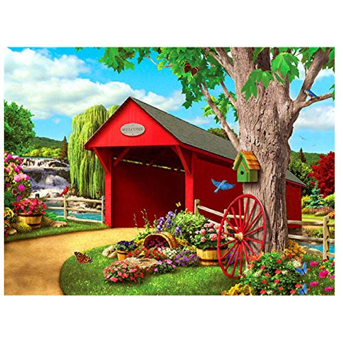 Pintar Digital por para Kit Casa roja debajo del arbol de Pintura al óleo DIY Principiante 40X50cm Without Frame