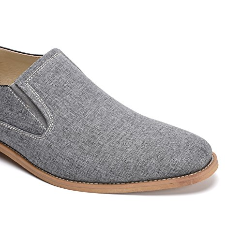 GOLAIMAN Men's Classic Casual Canvas Oxford Dress Shoe Slip-On Loafer (Grey 13)