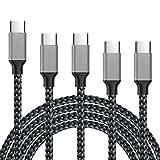 Lot de 4 câbles USB de type C, 0,9 m, 1,8 m, 3 m USB A vers USB C, câble de charge rapide en nylon tressé pour Samsung S10 S9 S8 Note 8 S8 Plus, LG V30 G6 G5, Google Pixel, Moto Z2 et plus encore