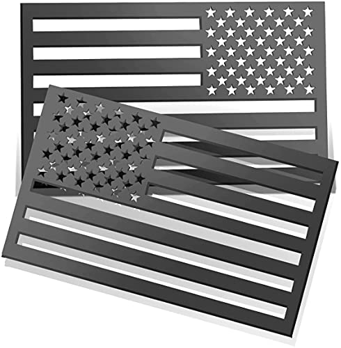 """UYYE 3D American Flag Emblem Decal Cut-Out, Thickness 0.13"""", Acrylic Cut-Out Car Sticker for Car, Truck or SUV (Black Matte 1 Pair)"""
