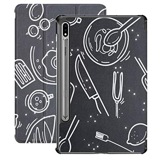 Estuche para Galaxy Tab S7 Estuche Delgado y liviano con Soporte para Tableta Samsung Galaxy Tab S7 de 11 Pulgadas Sm-t870 Sm-t875 Sm-t878 2020 Lanzamiento, Establecer patrón de Vector de Iconos de a