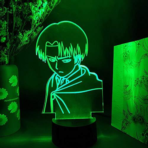 MDJK - Lámpara anime de anime sobre titanio, figura Levi Ackerman, luz para niños, dormitorio, decoración, multicolor, lámpara de mesa, regalo, 7 colores
