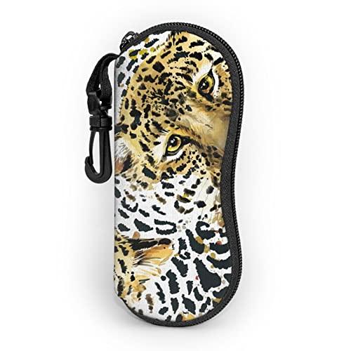 Watercolor Jaguar Funda De Gafas- Ultra Ligero Neopreno Con Cremallera Almacenaje Lente Suave Gafas De Sol Estuche Con Clip De Cinturón Para Gafas