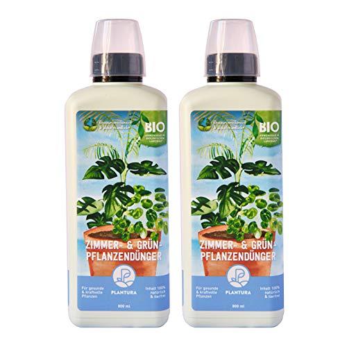 Plantura Bio Zimmer- & Grünpflanzendünger, 2er Set, Bio Flüssigdünger für Zimmerpflanzen & Palmen, 1,6 Liter