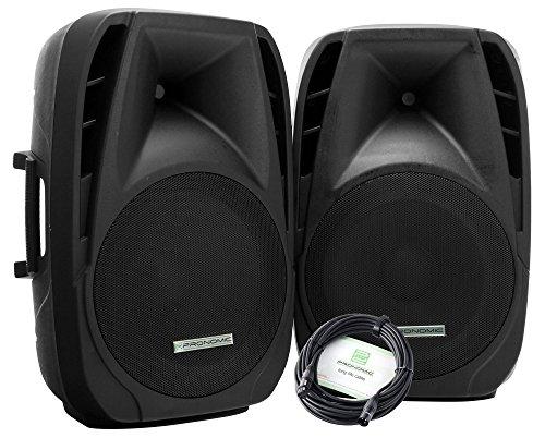"""2x Pronomic PH15A DJ Aktivboxen mobile Lautsprecher MP3 Bluetooth 700 W (Outdoor, 15\"""" Woofer, 34 mm Hochtontreiber, Hochständerflansch, leichtläufige Rollen, ABS Gehäuse, Tragegriffe)"""