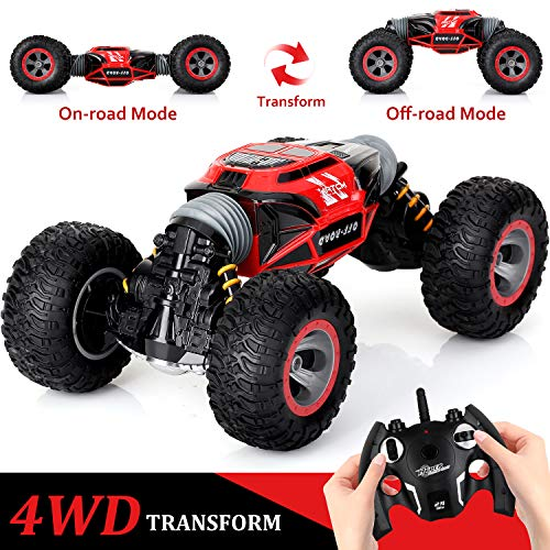 KingsDragon Remote Control Car,2.4 GHZ High Speed Stunt RC Racing Cars RC Rock Crawler w/ Rechargeable Batteries,Indoor Outdoor Motors Vehicles Buggy Hobby Car Toy Gifts for Boys Girls-Red