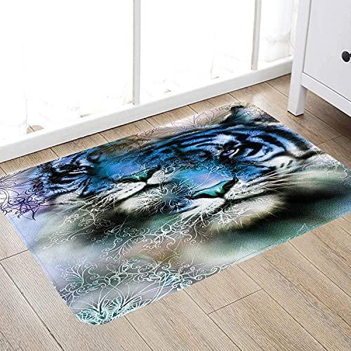 Alfombra de baño súper Suave de 50 x 80 cm,Animal, Dos Tigre Safari Gato Africano Salvaje Vida Furiosa Animales Grandes impresión del Arte, Alfombra de baño Absorbente Antideslizante