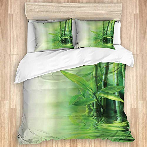 Funda nórdica, tallos de bambú asiático que se reflejan en el agua difuminan la frescura del spa natural japonés, juego de ropa de cama de calidad con 1 funda de descanso y 2 fundas de almohada de var