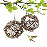 """Aflowa 2PCS Globe Hummingbird Nester,Large 6"""" Bird Houses Nesting Material Ball Holder Filled with Cotton,Hanging All Natural Refillable for Outdoor Wild Birds Wrens Finches,Garden Decor"""