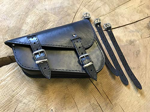Maleta lateral Medusa negra de Orletanos compatible con Harley Davidson HD de piel, maletín lateral para herramientas, bolsa de herramientas Sportster, funda de piel, color negro, 48 1200 883