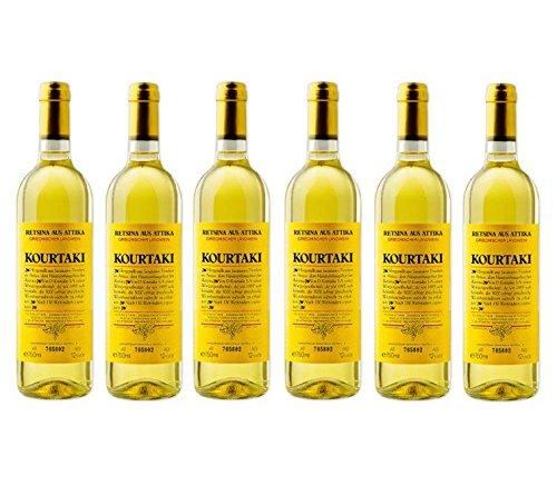 6x 750 ml Retsina Kourtaki Spar Set 12% gehartzter Weißwein Weiß Wein aus Griechenland Attika Savatiano