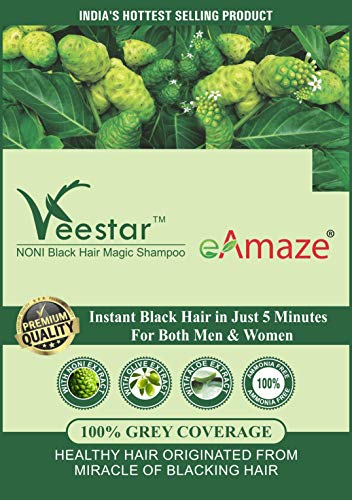 eAmaze NONI Hair Color Shampoo, Natural Black (30 ml X 10 Sachet) | Ammonia Free | Instant Black Hair in Just 5 Minutes | For Both Men & Women