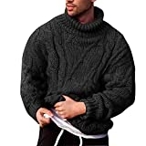 Les umes Mens Chunky Turtleneck Sweater Cable Ribbed Knit Loose Fit Thermal Winter Workout Thick Pullovers Black L