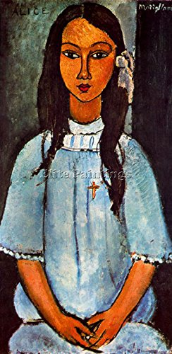 Elite-Paintings Modigliani CAO9EFGP Artista Quadro Riproduzione Dipinto Olio su Tela A Mano 60x30cm qualita museo