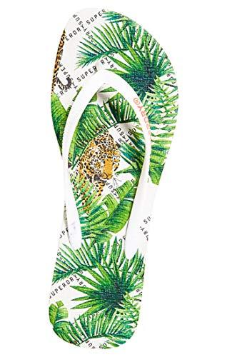 Superdry Super Sleek AOP Flip Flop, Chanclas Mujer, Multicolor (Leopard Geo J2f), 36/37 EU