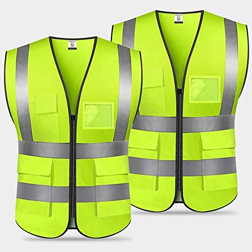 Chaleco Reflectante de Seguridad,Chaleco de Seguridad Fluorescente,Chaleco de Segurida Alta Visibilidad Chaleco con cremallera con Bolsillos para Trabajos al Aire Libre,Caminar-Unisex/Verde