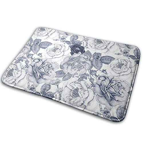Hat&C Carpet 15.7' X 23.5' Shabby Chic Garden Spring Roses Buds with Leaves Flowers Romantic Image Artwork Blue Grey and White Room Bathroom Rug Non-Slip Resistant Door Indoor Mat