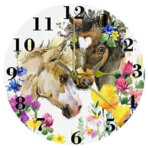 HEOEH Reloj de Pared de Cuarzo, silencioso, de 9,85 Pulgadas, con batería y Bonito pingüino Que sostiene una Maleta, ilustración de Dibujos Animados