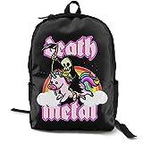 N / A Death Metal Retro Rainbow Paquete clásico Mochila escolar Negro viaje de trabajo poliéster Unisex escuela