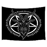 Tapiz gótico JAWO para colgar en la pared, diseño de cabeza de cabra de demonio baphomet, color negro, magia dibujada a mano, tela de poliéster, tapiz de pared grande para el hogar, sala de estar,...