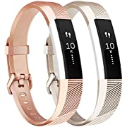 Tobfit Waterproof Sport Bands Compatible with Fit bit Alta/Alta HR/Ace, Soft TPU Replacement Wristbands, Small, Champagne Gold/Rose Gold
