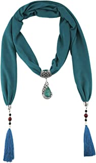 Prettyia Women Necklace Scarf Resin Stone Pendants Neckerchief Head Scarves
