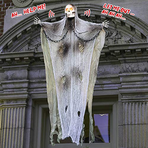 4.9Ft Halloween Hanging Ghost Decorations, Halloween Skeleton Grim Reaper Creepy Screaming Ghost Decor for Haunted House…