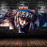 IKDBMUE Cuadros Decoracion Salon Modernos 5 Piezas Lienzo Grandes murales Pared hogar Pasillo Decor Arte Pared Cuadro Mujer India HD Impresión Foto Innovador Regalo