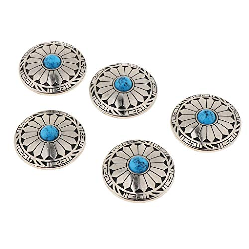 IPOTCH 5Pcs Western Concha Blumen Concha Nieten zum Schrauben Button Gap, Button Concha Ornament Lederwaren - Blau