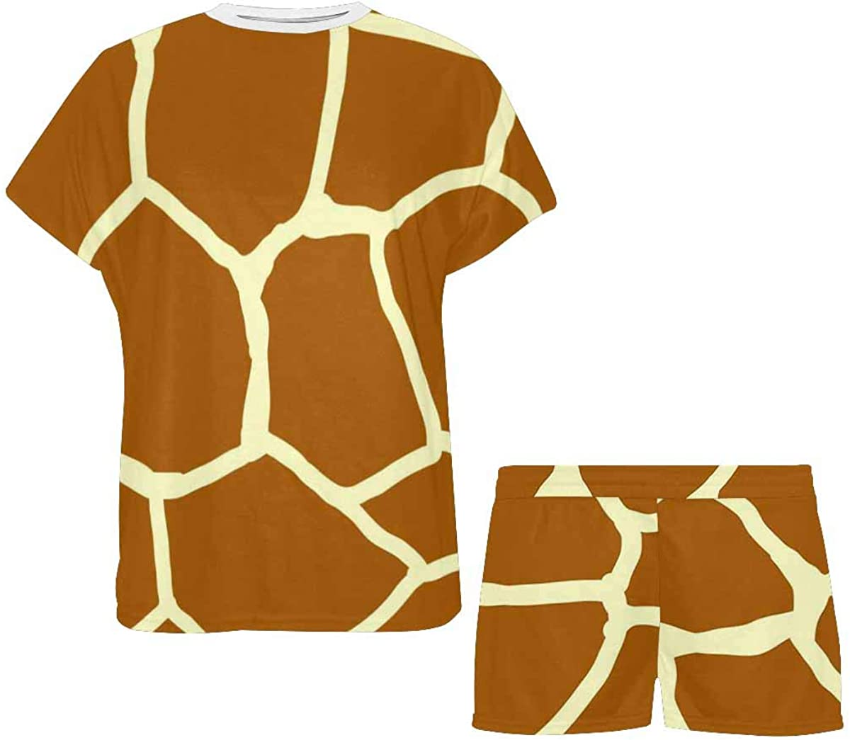 INTERESTPRINT Giraffe Pattern Women's Breathable 2 Piece Shorts Pajama Sleepwear Set