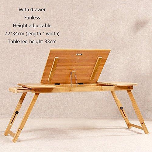 XIA Besoin de pliage table de formation 50 * 30cm, 55 * 34cm, 72 * 34cm bureau table multifonctionnelle, hauteur réglable en bambou (Couleur : With drawer, taille : 72 * 34cm)