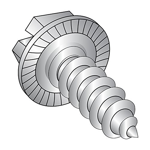 18-8 Stainless Steel Sheet Metal Screw, Plain Finish, Serrated Hex Washer Head, Slotted Drive, Type AB, #10-16 Thread Size, 3/8