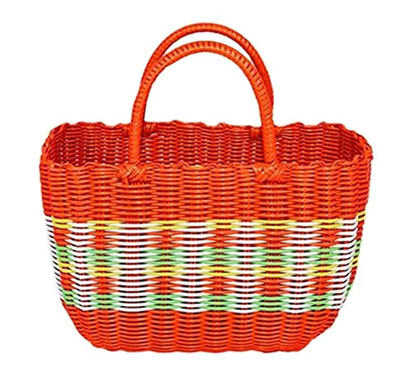 Colorful Woven Shopping Basket Woven Tote Bag Shower Basket, Orange