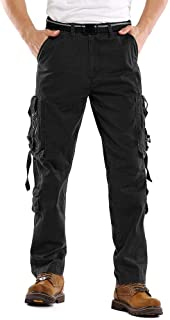 AKARMY Men's Cotton Casual Military Army Combat Work Cargo Pants with 10 Pockets