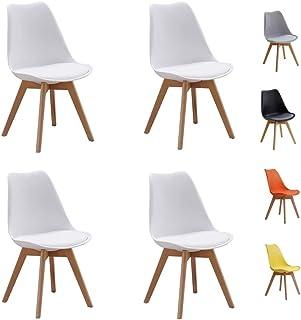 UYZ Conjunto de sillas de Comedor de tulipán Muebles Modernos de plástico, Estilo Retro, Blanco, para Sala de Estar, Escritorio, Patio, terraza, Oficina, Cocina y salón (Silla * 4)