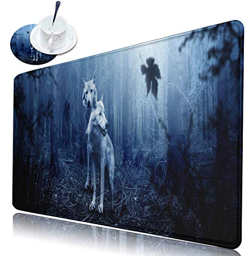 Desk Pad Large Gaming Mouse Pad with Stitched Edge, Dikoer Non-Slip Rubber Base Keyboard Mousepad XL(31.5 x 11.8 in) Extended Full Desk Mouse Mat for Laptop Office Home + Coasters, Cool Wolf Forest