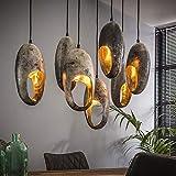 famlights Deckenleuchte E27   Vintage Lampe silber  Lampe Industrie / 7-flammig Dimmbar Fassung: E27 Hängelampe Holz   Holz Deckenlampe / E27
