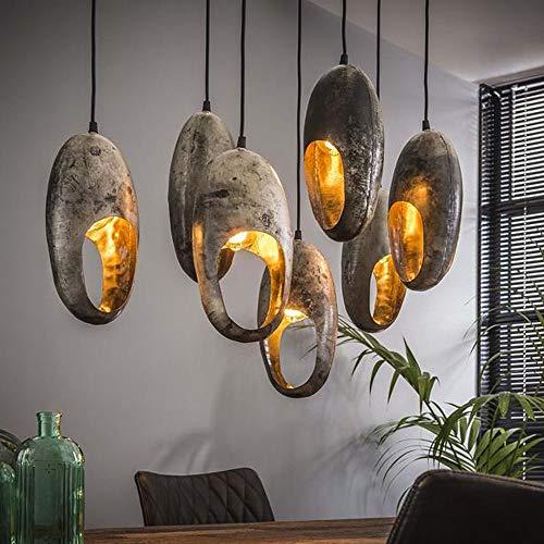 famlights Hängeleuchte Industrial   Vintage Lampe silber  Holzbalken Lampe / 7-flammig Dimmbar Fassung: E27 Vintage Deckenlampen   Rohrlampe Vintage / E27