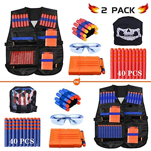 Expower Tactical Vest Kit, 2er Taktische Weste Jacke Set Nerf Vest Set Kompatibel mit Nerf Guns N-Strike Elite Serie mit Nerf Bullets, Nachladeclips, Tactical Mask, Armband und Schutzbrille