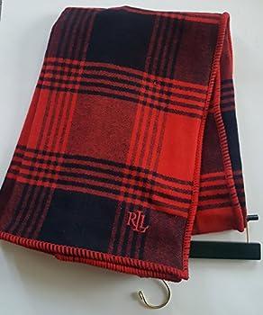 Ralph Lauren Lauren Classic Tartan Plaid Cotton Throw Blanket Red Black Check Checkered Buffalo Bedding