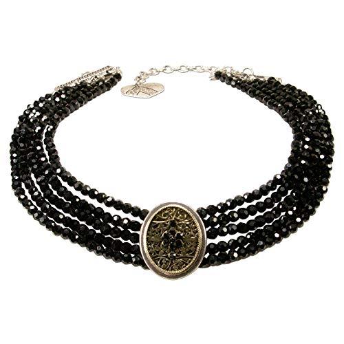 Alpenflüstern Trachten-Perlen-Kropfkette Lotte - nostalgische Trachtenkette, eleganter Damen-Trachtenschmuck, Dirndlkette schwarz DHK224