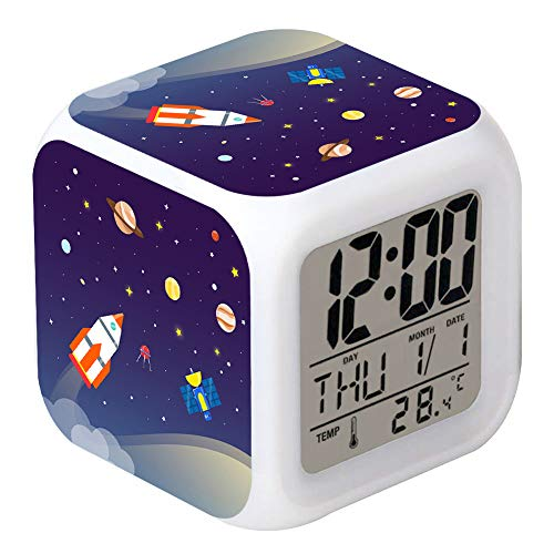 Cointone LED Alarm Clock Rocket Space Universe Pattern Creative Desk Table Clock Glowing Electronic Colorful Digital Clock for Unisex Adults Girl Boy Kids Children Toy Birthday Present Gift