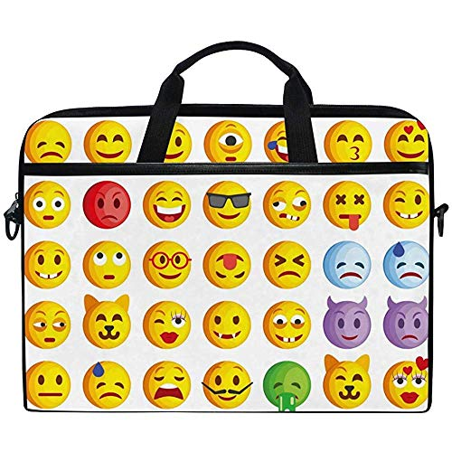 Laptop Sleeve Case,Funny Cute Emoji Emoticon Briefcase Messenger Notebook Computer Bag With Shoulder Strap Handle,14-14.5 Inch